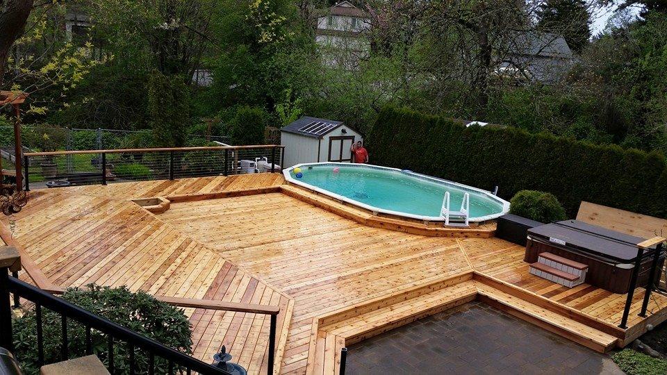 Cedar Deck around pool and Hot Tub