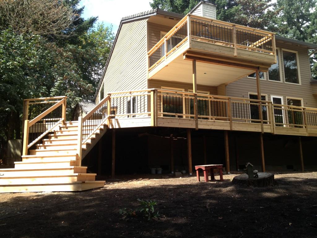 Wrap Around Deck Construction : Wrap around cedar deck picket rails and stairs