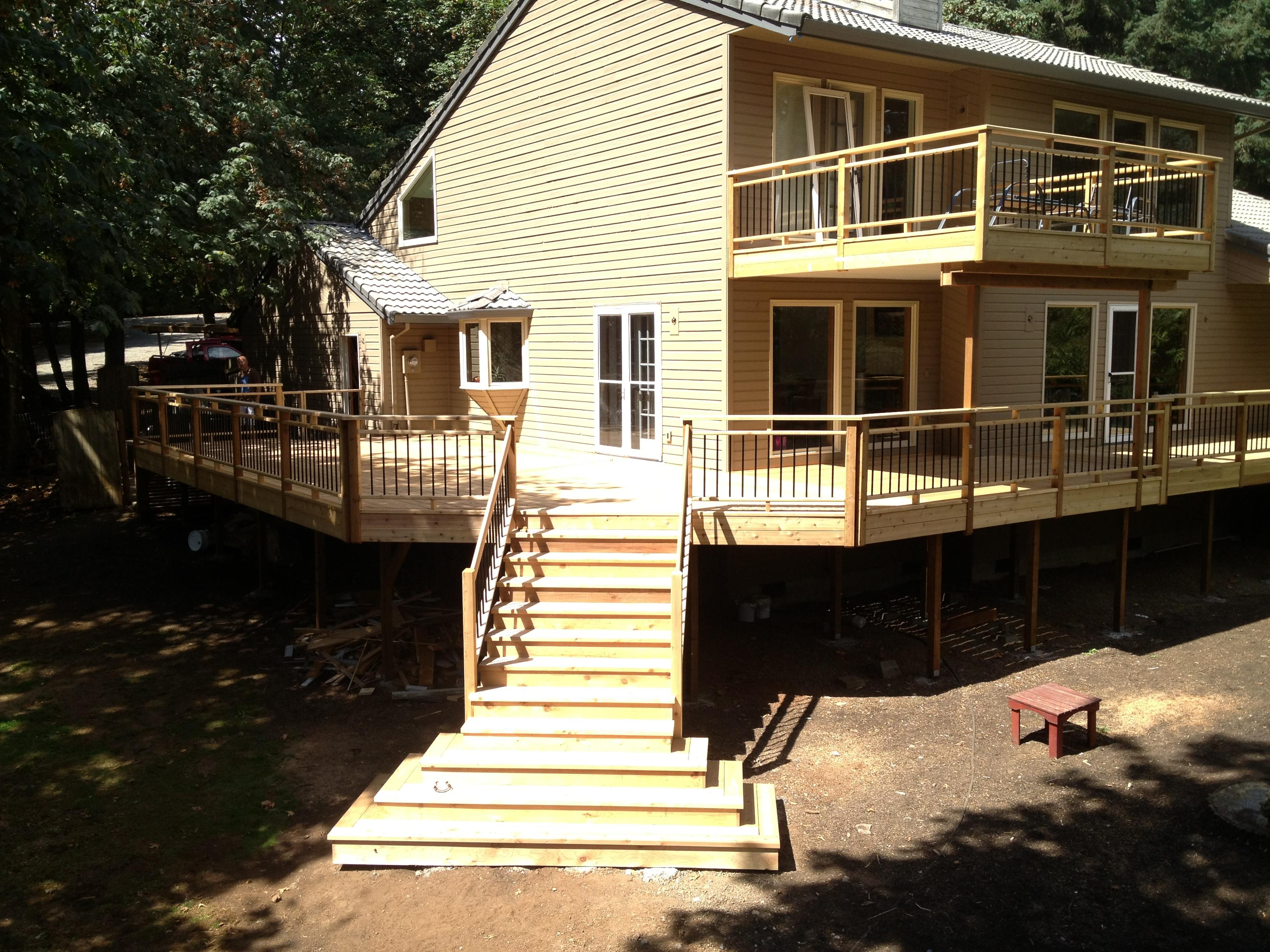 Cedar deck and stair entry way