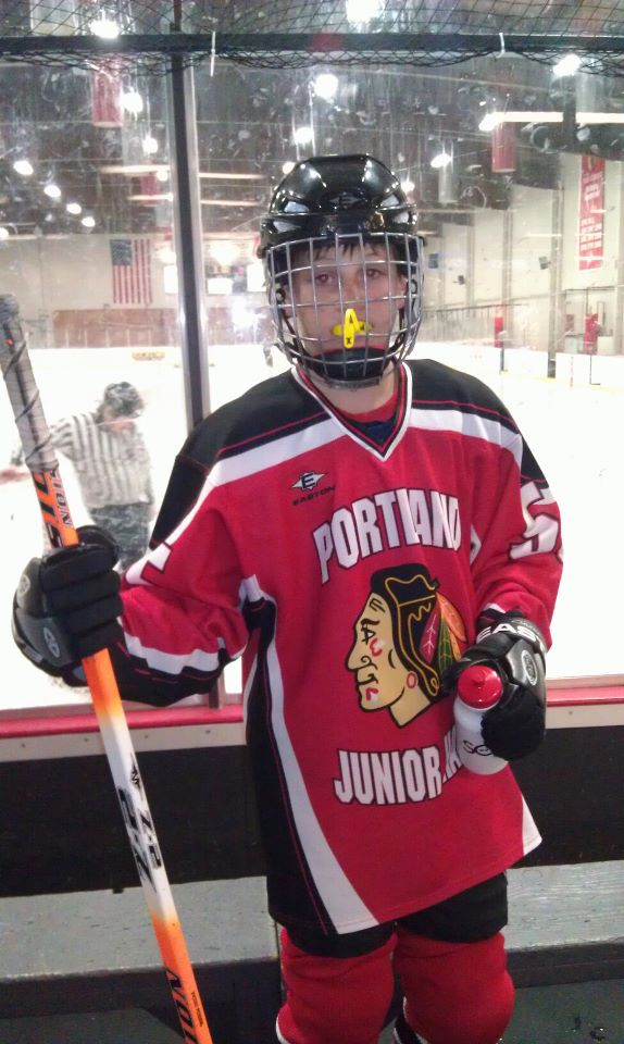 Our son playing Ice Hockey for the Portland Junior Hawks