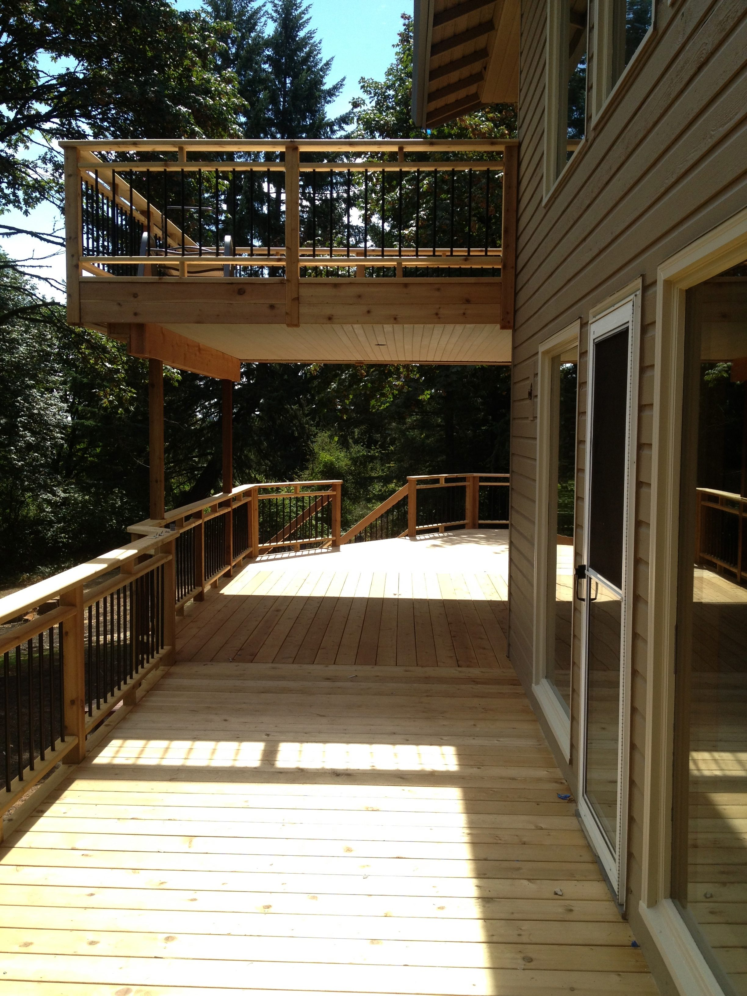 Deck Waterproofing Membrane : Cedar deck and balcony with waterproof membrane for lower
