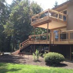 Cedar deck, balcony, waterproof membrane, T&G ceiling