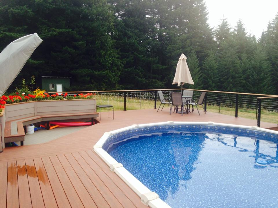 Composite Decking around above ground pool