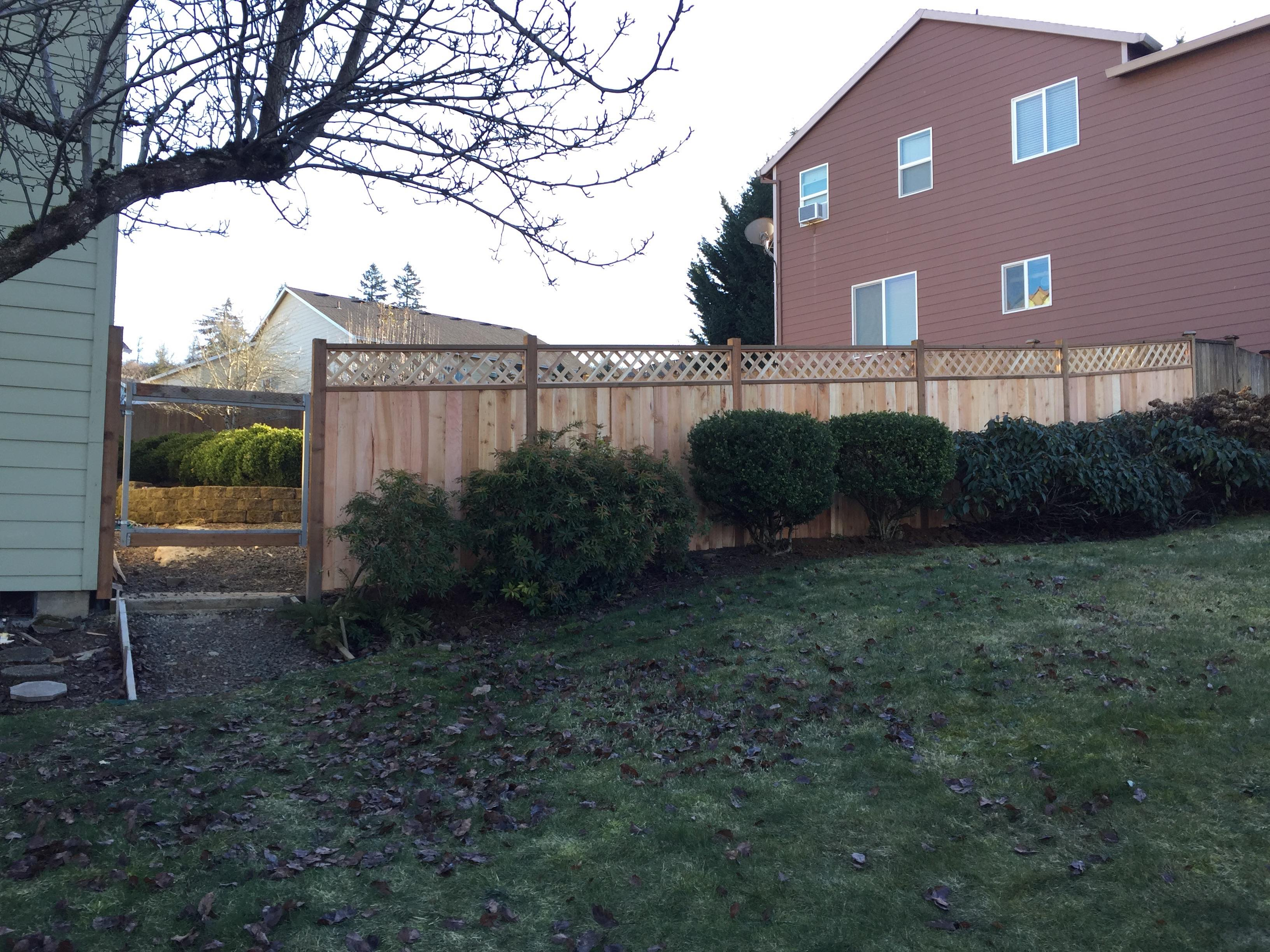 Cedar Fencing, Lattice top