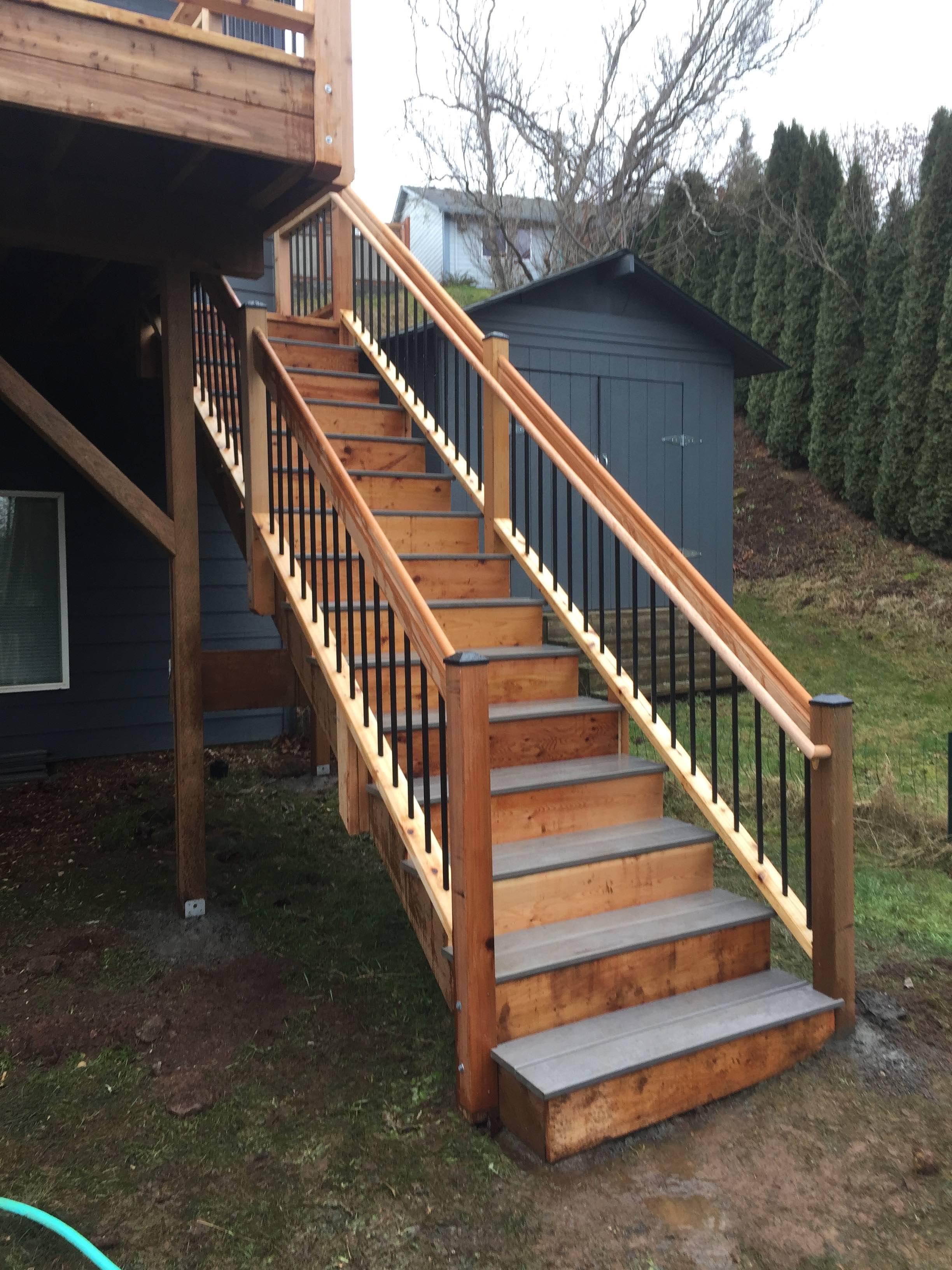 Timbertech Steps w/cedar rails and Dekorator pickets