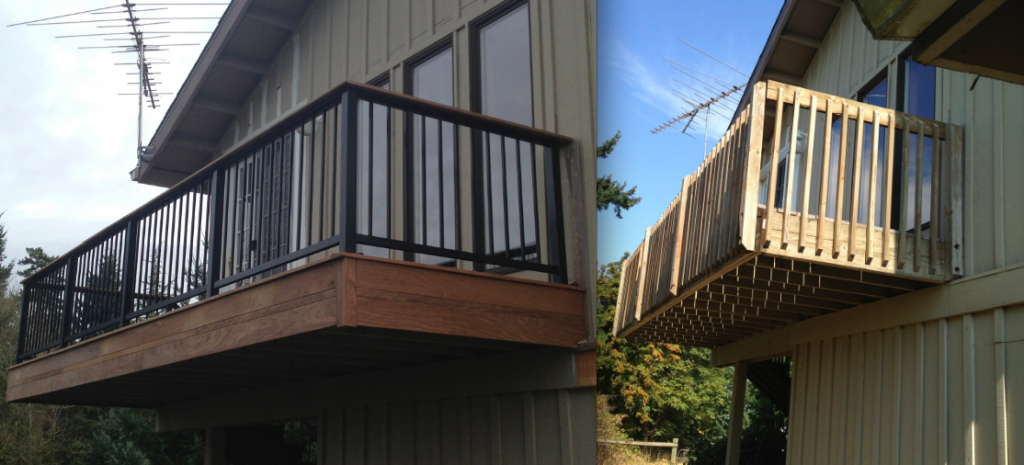 Balcony after and before buildstrong construction llc for Balcony overhang