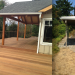 New deck & overhang - after and before