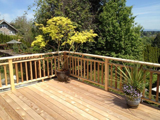 Cedar rails on Balcony deck