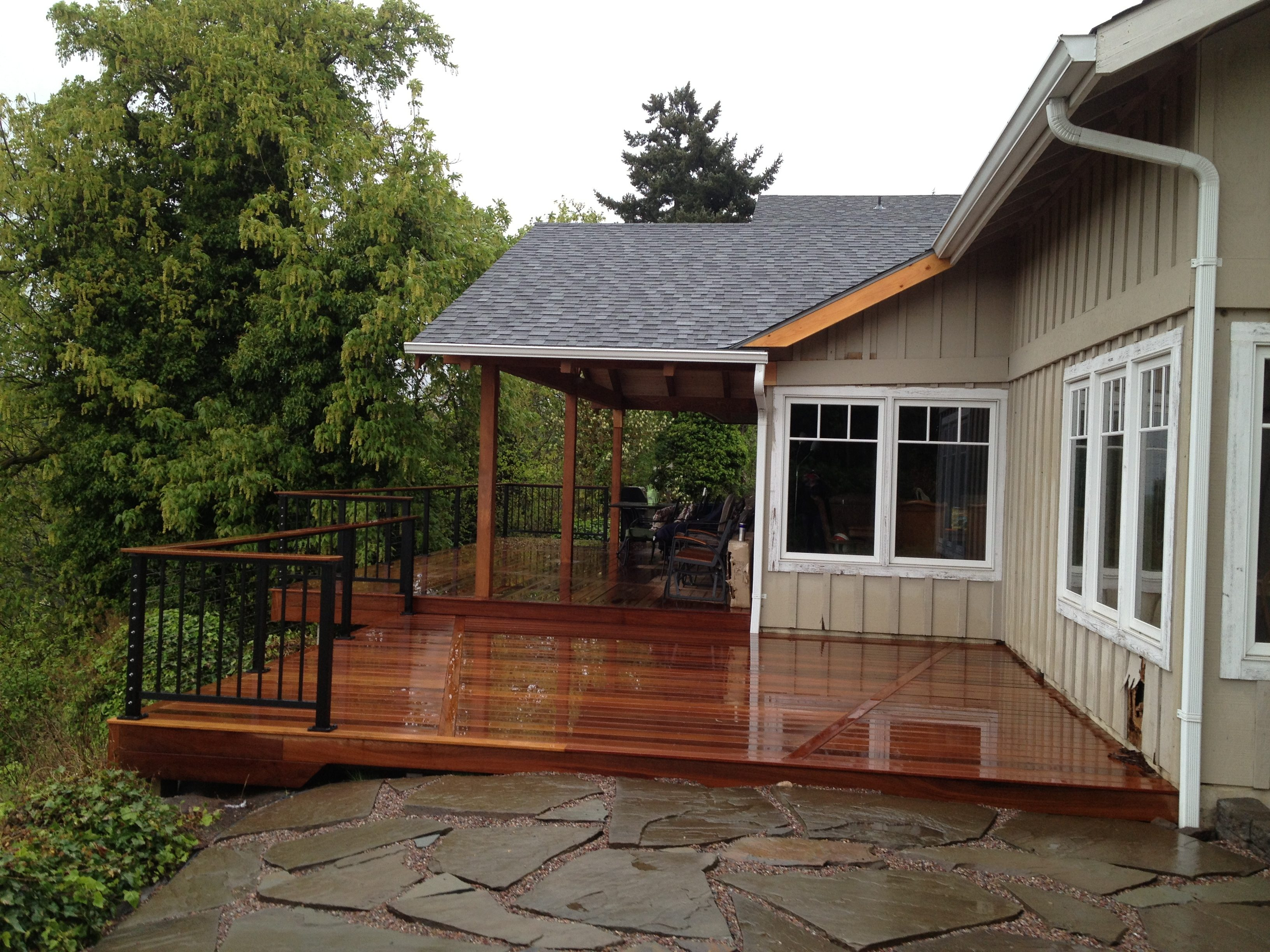 Ironwood deck with alumarail and overhang addition tied into home