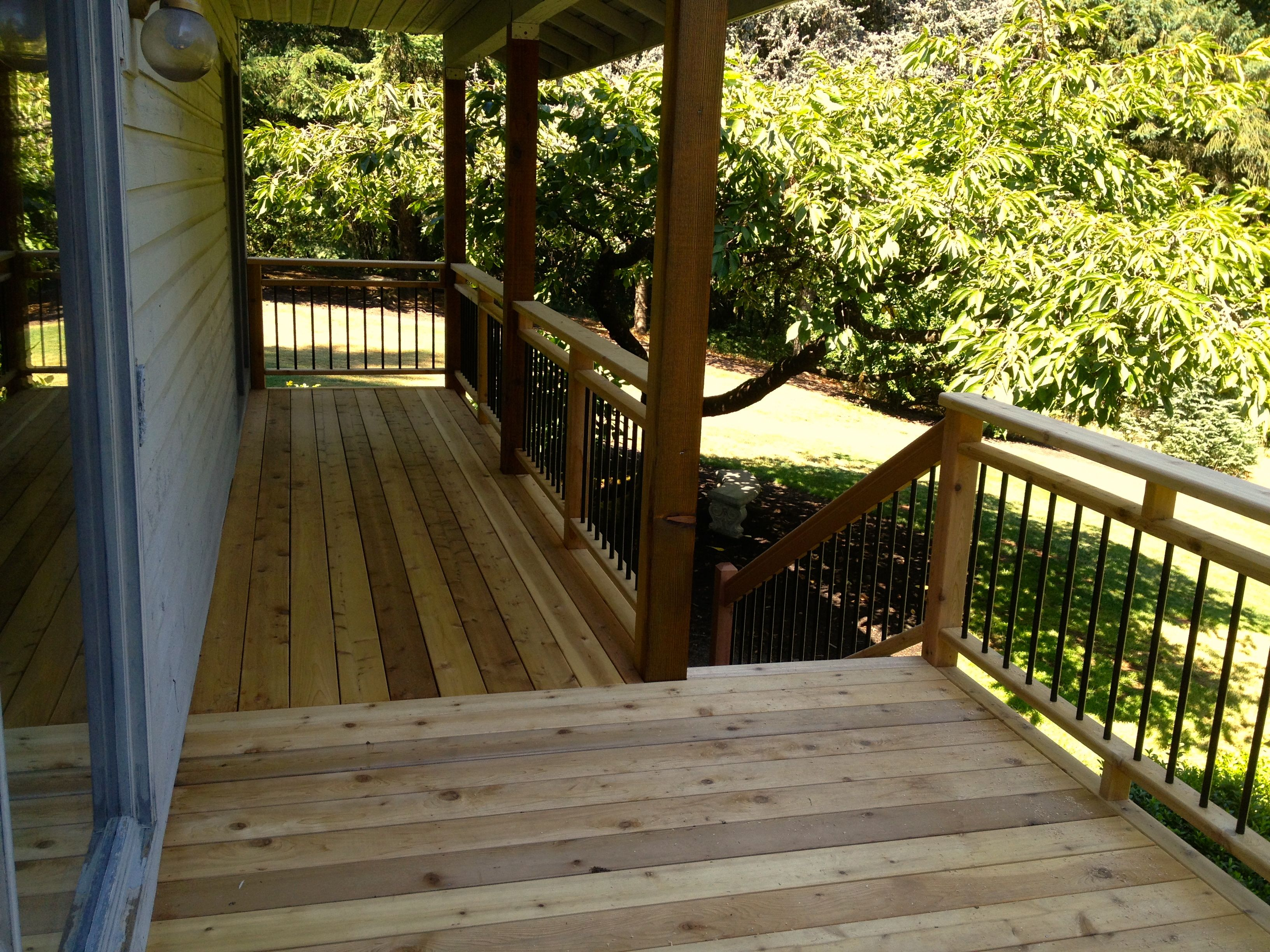Cedar deck, picket rails and steps