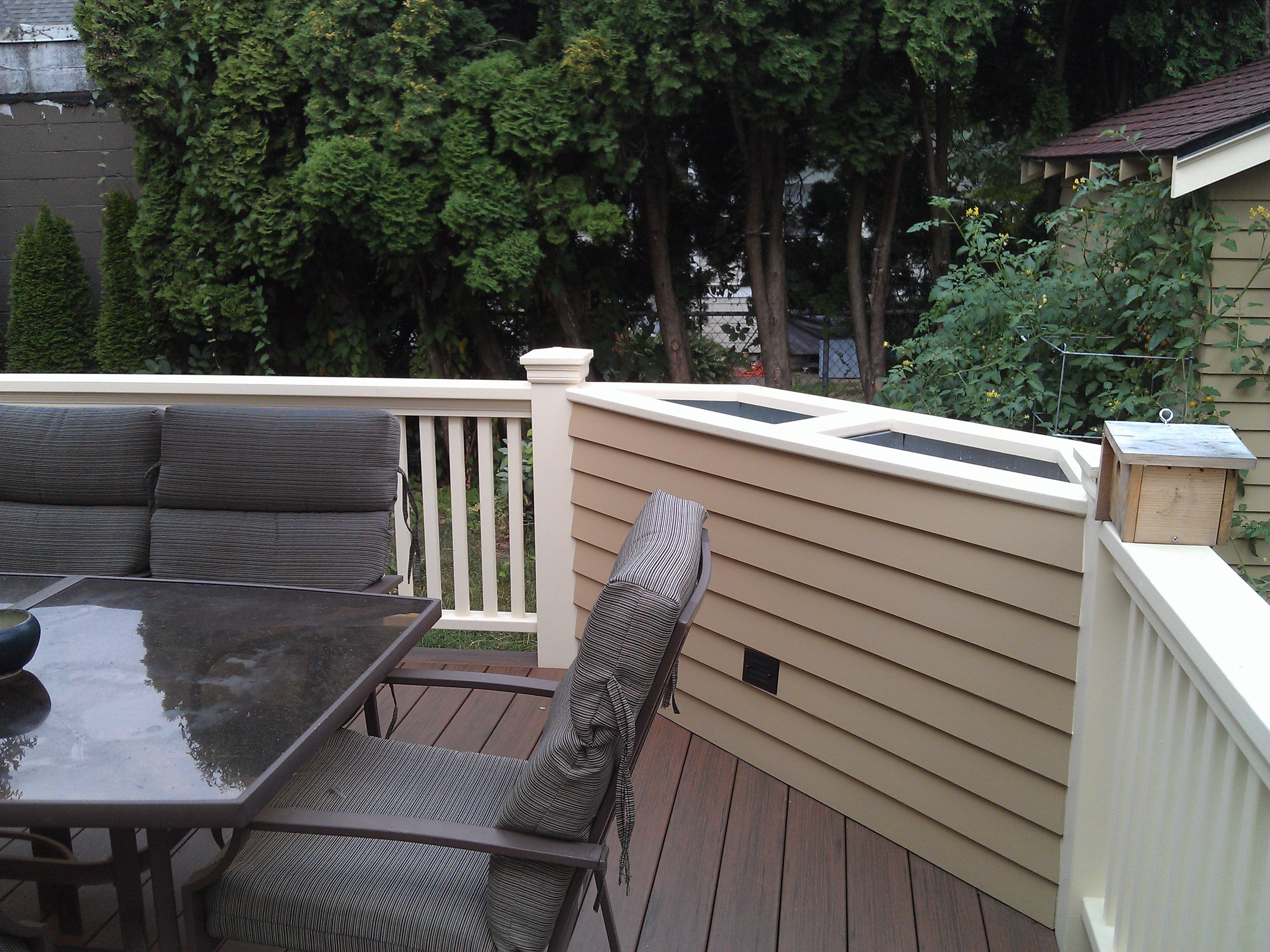 Custom planter box - built into the railings