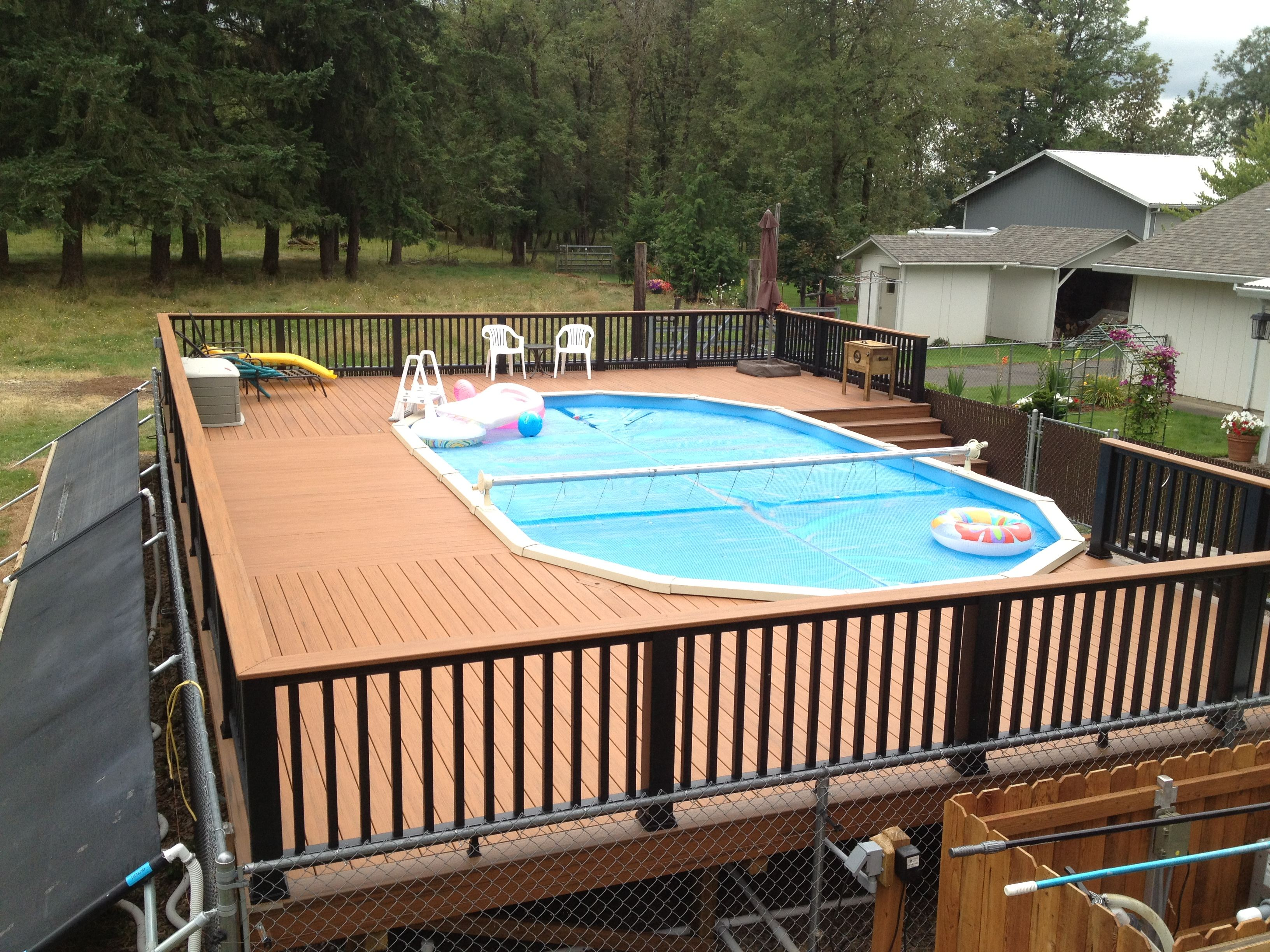 Timbertech evolution decking trex railings buildstrong construction - Above ground composite pool deck ...