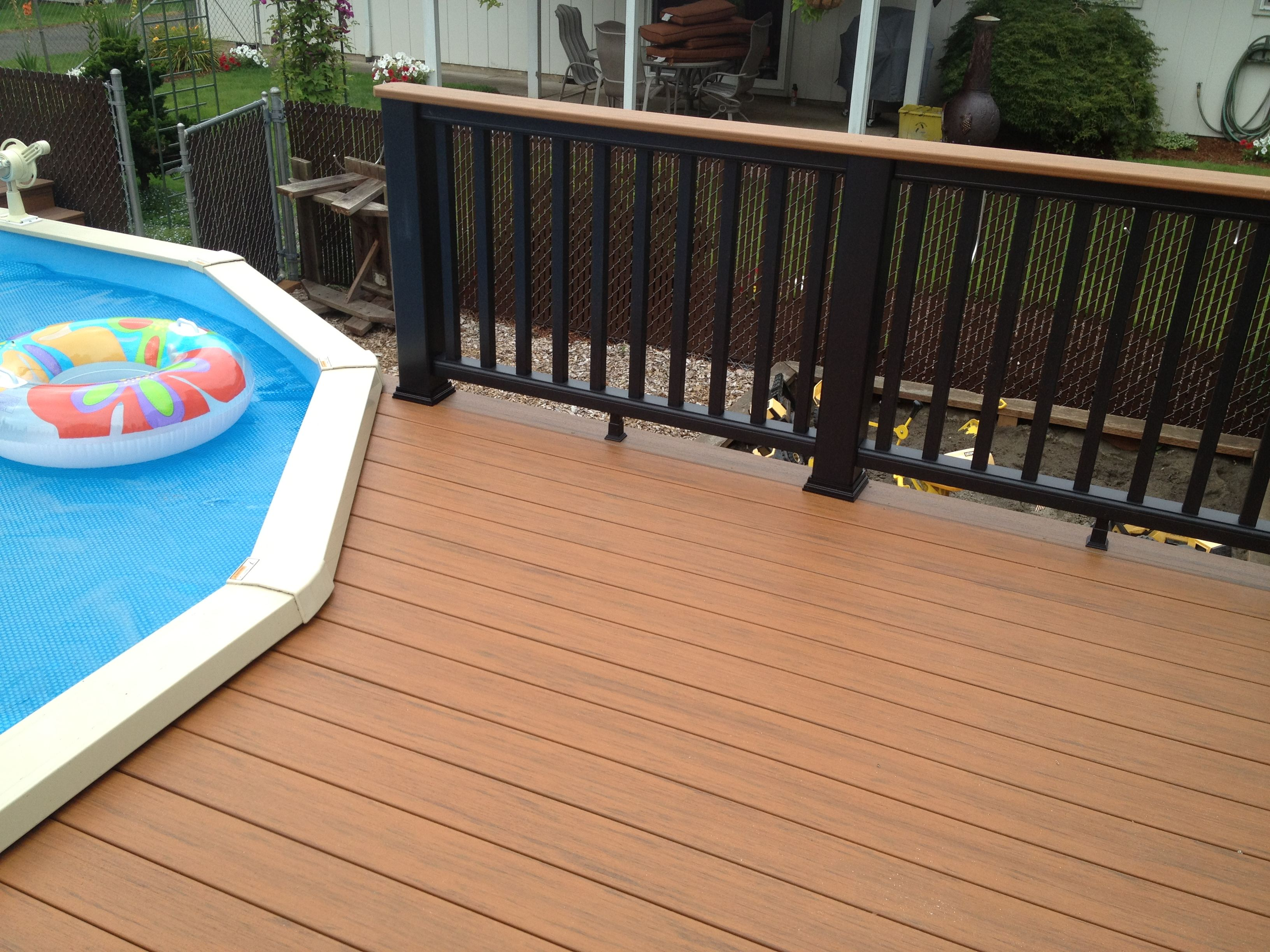 Timbertech Evolutions Decking Around Pool With Trex