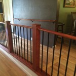 Hardwood wheelchair ramp, Oak hand rail with Aluminum pickets