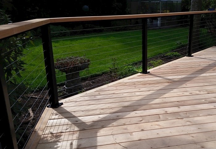 Cedar Deck, cable Rails with wood top rail