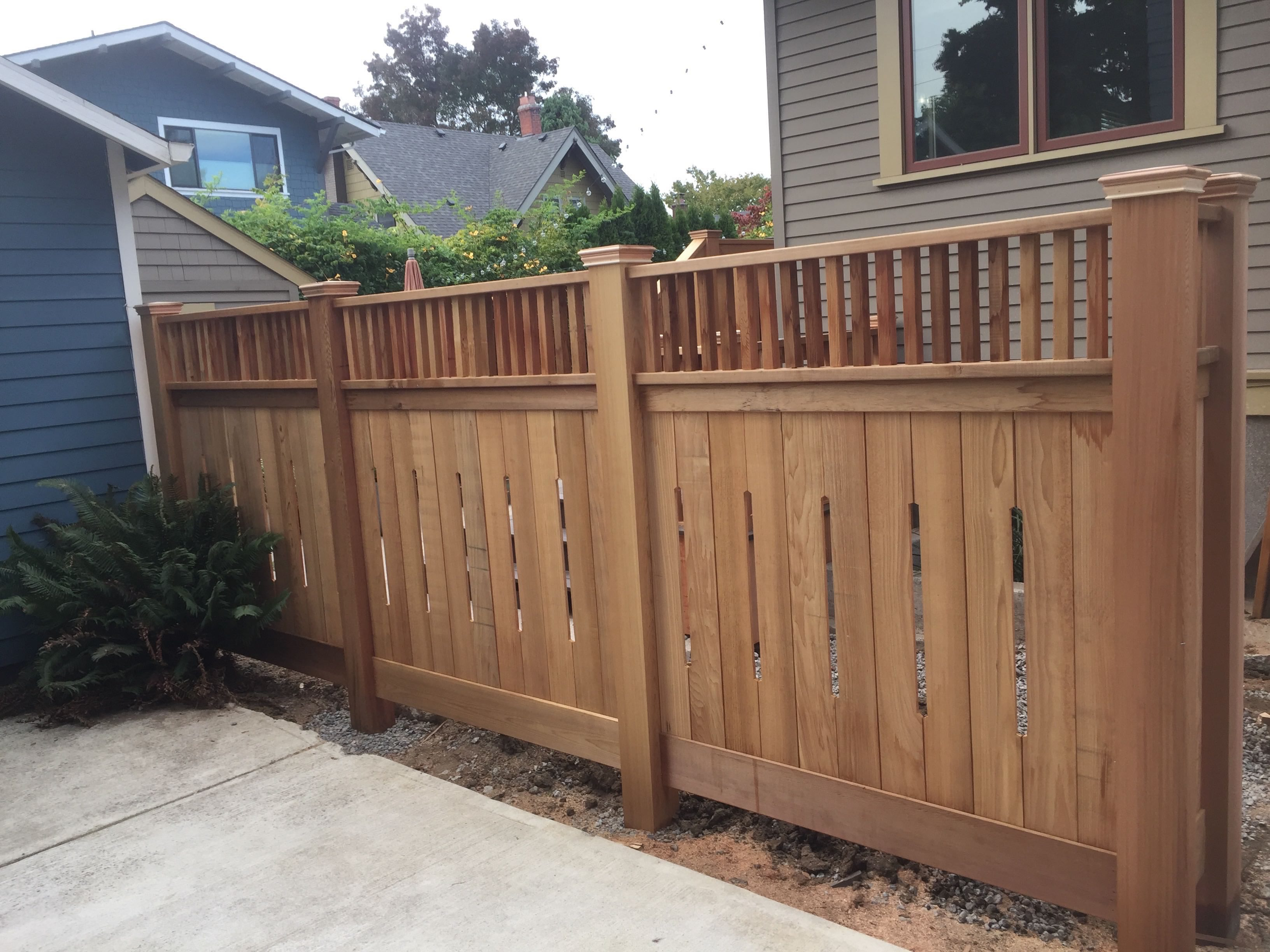 lear Cedar custom fence with 6x6 posts