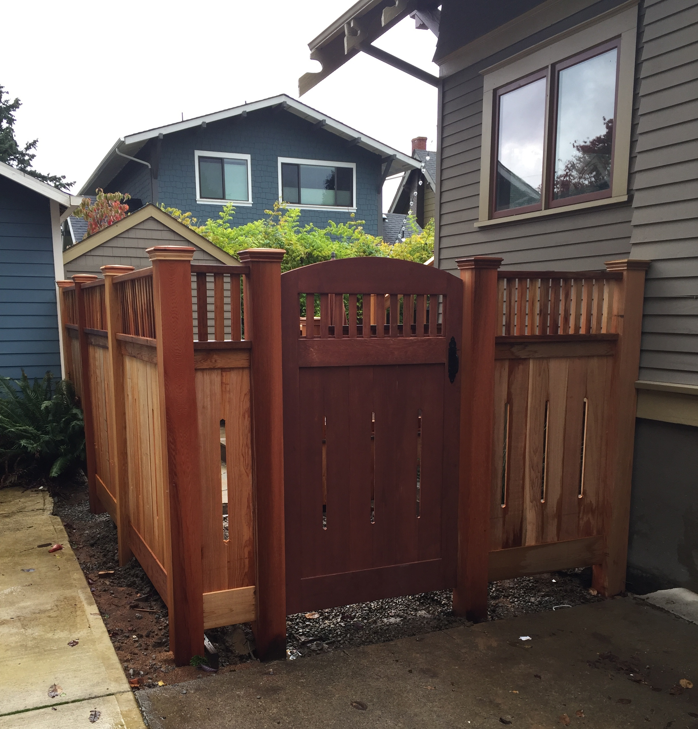 Clear Cedar custom fence with 6x6 posts